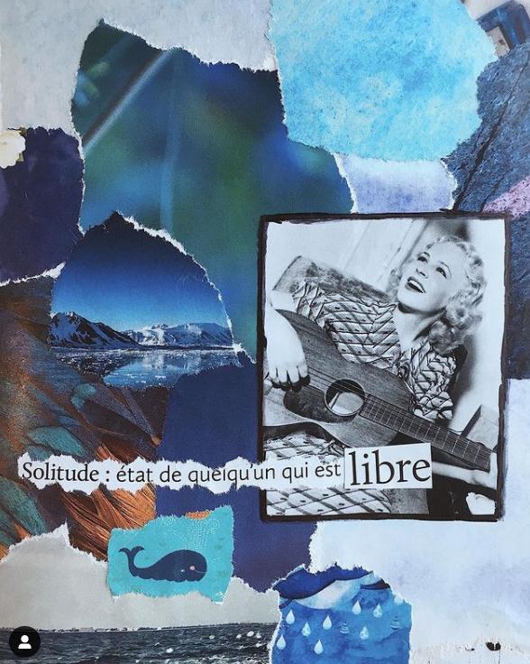 collage bleu sketchbook